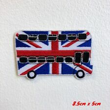 Union Jack London Bus Embroidered Iron Sew on Patch #1826