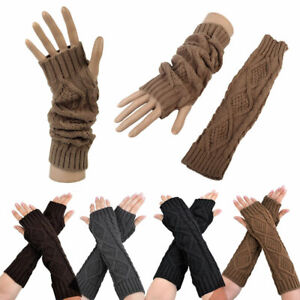 QUUPY Elastic Arm Warmer Long Fingerless Gloves Mitten Long Sleeve Hand Wrist Warmers