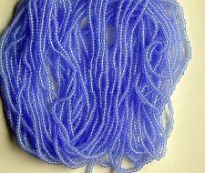 "Sky Blue Seed Beads Vintage Round Transparent Glass 11/0 Long 20"" Hank 18bpi"
