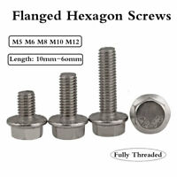 Stainless Steel Flanged Hex Head Bolts Flange Hexagon Screws M5 - M12 10-60mm
