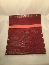 Handmade one off ipad/tablet case - Red 'croc' real leather- key charm detail