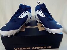 UNDER ARMOUR MENS MICRO COMP FIT FOOTBALL CLEATS~SZ 13~NAVY/WHITE~NIB