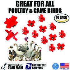 10 Horizontal Poultry Water Nipples Drinker Chicken Waterer Chicks Hen Quail
