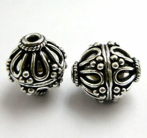 20 PCS 15X17MM SOLID COPPER BALI BEAD ANTIQUE STERLING SILVER PLATED B 3 TDH-15