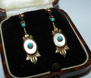 ANTIQUE EDWARDIAN 14CT GOLD DROP EARRINGS TURQUOISE MOTHER OF PEARL LEAF DANGLES