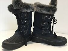 Womens Tall Khombu Snowboots Uk7 Black Fur Trim & Lined Weather Resistant Leathe