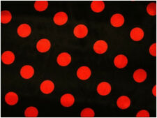 Polyester Satin punkte schwarz mit roten Punkten 150cm