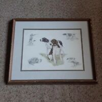 Nigel Hemming 2 Working Hunting Gun Pointer Dogs Framed Print VTG 1986 England