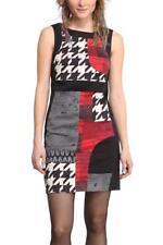 Desigual 36-46 8-18 RRP £ 109 Fiona Vestido Negro Blanco Rojo ajustada de cambio de impresión 1960