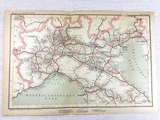 1902 Antique Railway Map of Italy Venice Florence Milan Turin Italian Railroads