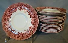 13 J & G Meakin Romantic England Pink Transfer Anne Hathaway's Cottage Saucers