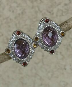 Judith Ripka Oval Amethyst Citrine Garnet & Diamonique Earrings Pierced Sterling