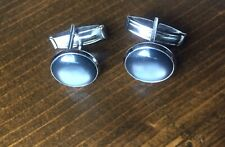Vintage Cufflinks Gray Round Silver Tone Faux Moonstone Unsigned