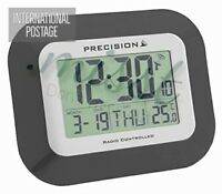 Precision Radio Controlled Large Screen LCD Clock Wall Mountable and Desk Clock