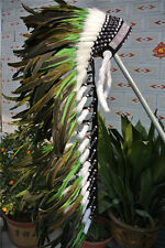 36INCH green indian feather headdress war bonnet American costume for halloween