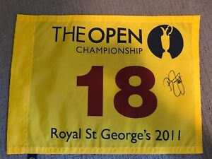 Royal St George's 2011 Open Championship Pin Flag signed by Rickie Fowler