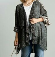 New Umgee Kimono 1X 2X Floral Leopard Animal Bell Sleeve Boho Peasant Plus Size