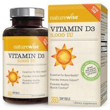 NatureWise Vitamin D3 5000 IU in Organic Olive Oil Non-GMO USP Grade 360 count
