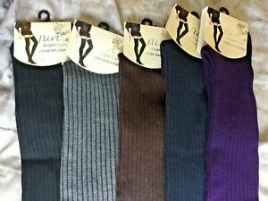 Over Knee Socks By Flirt Black Purple Grey Navy Brown Ribbed One Size A12/13