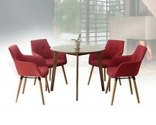 Dining Kitchen Set of 5 Round Wooden Medium Brown Table w/4 Alba Armchairs Red