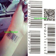 1 X Temporary Tattoo Sticker Sheet Barcode Bar Code Love Ladies Girls Body Art