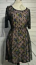 Vintage Style floral print with lace overlay dress by cotton candy size large