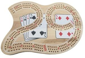 QUALITY LARGE THICK WOODEN CRIBBAGE BOARD - 3 TRACKS INCLUDING PEGS