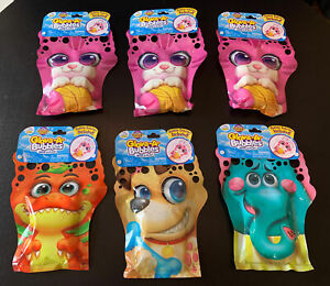 Lot of 6 Glove-A-Bubbles Wave & Play Bubble Solution Pouches Dinosaur Cat Dog