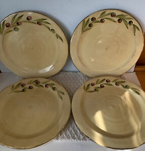 """SET OF 6 Crate&Barrel CERAMICHE ALFA OLIVES DINNER PLATES, MADE IN ITALY 11"""""""