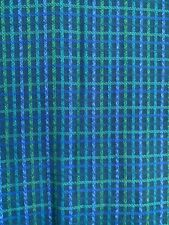 More details for curtains vintage 1960's turquoise blue green woven check fabric 45
