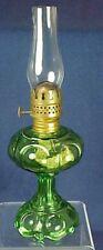 Miniature Green Bullseye Pattern Glass Kerosene Lamp Brass Burner Glass Chimney