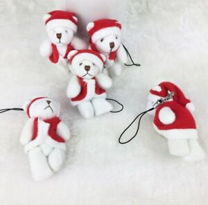 Mini Xmas Classic Soft Bears Dressed in Santa Outfit Keyring Party.Gift,Tree,6cm
