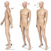6FT Male Full Body Realistic Mannequin Display Head Turns Dress Form with Base