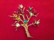 Vintage Tree Of Life Brooch Pin Gold on Sterling Silver Colorful Rhinestones