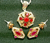 genuine ruby pendant and earrings set 925 silver