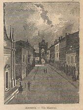 A0819 Argenta - Via Mazzini - Stampa Antica del 1911 - Xilografia