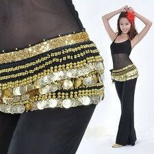 Belly Dance Dancing Hip Scarf Skirt Wrap Costumes Gold Coins Belt velvet Costume
