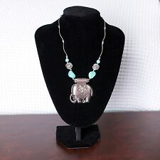 Women's Gypsy Turquoise Elephant Pendant Silver Vintage Link Chain Necklace