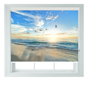Seagull Sunset Beach Blue Scenic Printed Photo Black Out Roller Blinds 23456ft