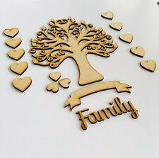 MDF Family Tree Set Kit Avec Arbre Coeurs, bannière et Word-en Bois Livre d'or Art