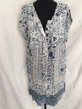 Gerard Darel Silk Blue Print Dress Size Eur 44 (Approx Size 14) Ex Con