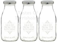 Juego de 3 x 250ml Cristal Estampado' sauced The Kitchen' Salsa Botellas & Tapas