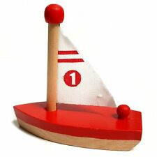Small Wooden Sailing Boat Toy - Fun Bathtime Classic Retro Toy - Assorted Colour