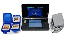Nintendo 3DS Bundle Black Gunmetal Console Four Games Charger Memory Card