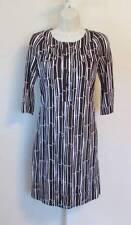 Diane von Furstenberg Sadie Bamboo Large Mocha brown Tunic dress 10 Reina white