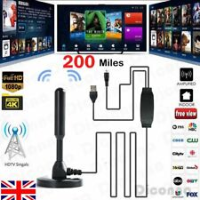 Portable Stick TV Antenna Indoor 200 Miles Digital 1080P HDTV Freeview Aerial 4K