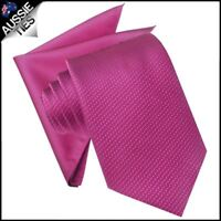 Fuschia Magenta Mens Tie with Matching Pocket Square Handkerchief Hanky Napkin