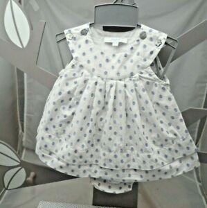 jacadi ensemble deux pièces Robe et culotte blanc à pois bleu bébé 1 mois