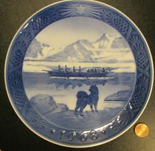 Christmas 1968 Plate Kai Lange The Last Umiak by Royal Copenhagen Denmark signed