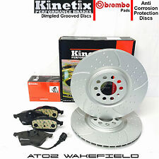 Audi A3 S3 1.8 T Turbo 8L Kinetix Front Grooved Brake Discs And Brembo Pads 312m
